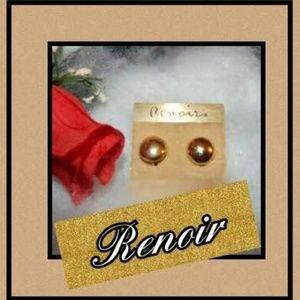 ♥️Beautiful Renoir Goldtone Button Earrings!!